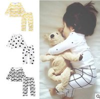 Wholesale Korea Wholesale For Kids - Ins Kids Outfits for Baby Girls Clothing Sets Cotton Animal Elephant Striped Polka Dot 2 Piece Outwear Kids Clothing Korea Baby Clothes