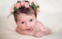 Wholesale Lily Hair Wedding - Baby Girls Beach Garlands Hair Sticks Girls Wedding Lily Headwear Children Flower Rattan Garland princess Headdress Hair Accessories