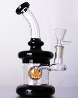 Wholesale Small Glass Flower - Black small glass bongs with flower perc downstem mini water pipe dab rig with 14 mm joint