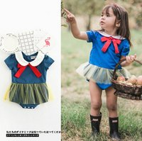 Wholesale Snow White Romper - Baby romper INS summer Baby Girls doll lapel bows tulle Romper Infant snow white short sleeve jumpsuit children clothing A0473