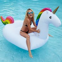 Wholesale 200cm Inflatable Floats Inflatable Unicorn Ride On pool toys for kids and adults Unicorn inflatable float Swimming Ring Water Raft DHL free