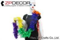 Wholesale Turkey Feather Boa Scarf - ZPDECOR 4 yards lot 40gram Hot Sale Good Quality Dyed Colorful Turkey Chandelle Feather Boa for Carnival Decor Fashion Show Feather Scarf