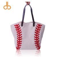 sacos de esportes da china venda por atacado-China Atacado EM BRANCO Mulher de Alta Qualidade Esportes Tote Bag Algodão Canvas Bolsas de Beisebol das Mulheres Casuais Saco de Praia Bolsa de Softball DOM281
