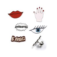 Wholesale Eye Jeans - Wholesale- Fashion jewelry Cartoon Cute Lip Eye Awesome Hand Metal Brooch Pins Jeans Bag Decoration Brooches