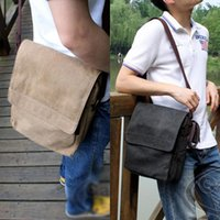 Wholesale Wholesale Work Bags - Wholesale- New Retro Men's Boys' Vintage Canvas Messenger Solid Bag Working Satchel School Shoulder Crossbody Bag
