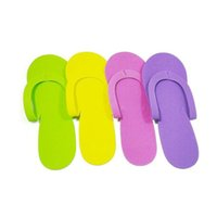 Wholesale foam spa slippers resale online - EVA Foam Salon Spa Slipper Disposable Pedicure Thong Slippers Hotel Travel Home Guest Beauty Slipper Closed Toe Shoe ZA1372