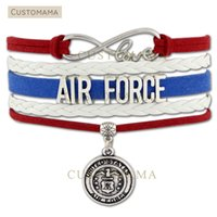 Wholesale United Forces - Custom-Infinity Love United States Air Force Multilayer Wrap Bracelet Red Blue White Suede & Leather Custom any Themes Dropshipping
