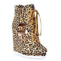 geschlossene spitzenschuhe großhandel-Kolnoo Damenmode handgefertigt 13cm Wadge High Heel Schnürschuh Closed Toe Party Pumps Pumps Leopard XD159