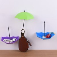 Vente en gros - 3Pcs Colorful Umbrella Wall Sticky Nail-free Hook Key Hair Pin Holder Organizer Décoratif Nouveau Home Storage pour divers