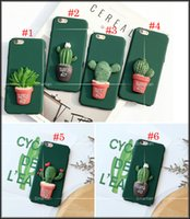 Wholesale Plant Pot Covers - Fashion 3D Cartoon Green Plant Cactus Potted Back Cover For IPhone5 5s SE For iphone6 6s plus iphone 7 7Plus Case Matte Hard Plastic Shell