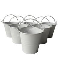 Wholesale mini whites tin pails resale online - D6 H5CM white Metal mini Pail Tin bucket Rustic Succlents Pots Decorative Galvanized Meat plant pot Iron pots Party Favor