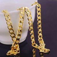 Wholesale mens rock necklace - Wholesale- 2017 New Fashion HIPHOP Rock Necklace Yellow Gold Filled Solid Cuban Curb Chain Mens Fashion Necklace