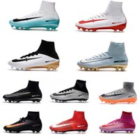 Wholesale 2017 Original Mercurial Superfly V FG Soccer cleats CR7 mens Soccer shoes Black Cristiano Ronaldo high top Football boots CR7 Gold