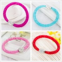Wholesale Magnetic Plastic Bangle Bracelets - Free shipping Shambhala Mesh Bracelet Czech Crystal Rhinestone Cuff Clay Magnetic Clasp Bracelets Bangle