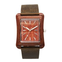 Elegante New Design Mens Womens Watch Quartz Movimento Square Case 100% Genuine Leather Band Fábrica de Venda Direta Luxury Wood Watch BR8630