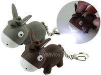Wholesale Donkey Key Chain - Lovely Donkey Key Chain Ring with LED Light and Animal Sound Toy Gift