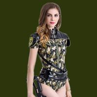 Wholesale Zebra Jumpsuit Women - Female new camouflage dress costumes nightclub bar DJ sexy bodysuit costumes army green cool tide jumpsuit singer dancer show prom jazz DS