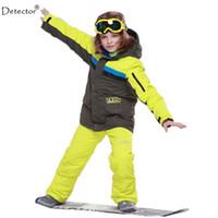 Wholesale Boys Blue Gold Suits - Wholesale- 2016 New FREE SHIPPING kids boys winter clothing set skiing jacket+pant snow suit -20-30 DEGREE boys ski suit size134-164