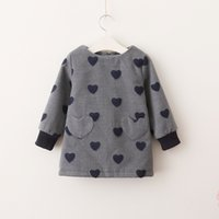 Everweekend Kids Girls Sweet Heart Bébé Cute Lovely Holiday Dress Western Enfants Filles Gris Rouge Couleur Nouvelle Robe