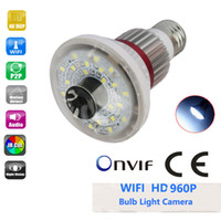 Wholesale Eazzydv HD960P wireless bulb IP camera remote access double alert WHITE LED Light
