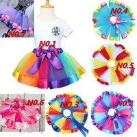 Wholesale Dance Blouses - Girls Rainbow Tulle Tutu Mini Dress Kids Lovely Handmade Colorful Tutu Dance Skirt Ruffled Birthday Party Skirt 7colors LC461