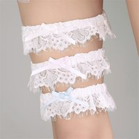 Wholesale party garter - 2017 New Elegant Sexy Ivory Blue Pink Wedding Garters with Lace Bow Bridal Belt Party Accessory Women Free Shipping