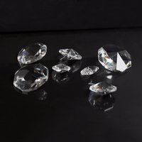 Wholesale Glass Bead Curtains Wholesale - 200PCS lot 14mm Clear Glass Crystal Octagon Beads Chandelier Hanging Parts Curtain Accessories Beads 2 Hole For Home Wedding Dec