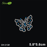 Wholesale Metal Embellishment Free Shipping - Free shipping Lovely butterfly design hot fix rhinestones,heat transfer motif,applique for garment embellishment DIY DH213#