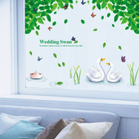 Wholesale Swan Couple Tree Butterfly Wall Stickers Kids Room Bedroom Living Room Home Decor d Vinyl Posters Wall Decal Valentine s Day