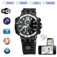 Wholesale Ip Camera Android Audio Hd - WIFI watch spy camera IP P2P 16GB Night Vision HD 720P Motion Detection Wrist Watch Hidden mini audio video recorder for IOS Android