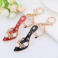Wholesale Wholesale High Heel Shoe Keyring - Bling Bling Rhinestone High-heeled Shoes Metal Keychain Keyring Car Keychains Purse Charms Handbag Pendant Wedding Gift