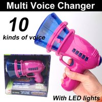 Wholesale Toy Tubas - Multi Voice Changer toy 10 sound effects incredible Voice Changer Pink+LED lights Handheld Tuba Voice Changer kids toys Funny toys