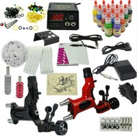 Wholesale Dragonfly Inks - Rotary Tattoo machine set the dragonfly motor tattoo gun kits Professional tattoo set 14 color ink power supply Free Shipping