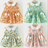 Wholesale Doll Lolita - 4 color hot selling Korean style 2017 new arrival girl summer cute little flower printting Doll Collar Dress high quality cotton dress