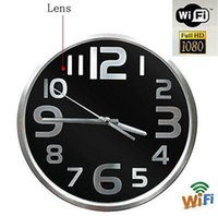 Wholesale Wall Clock Dvr Cameras - Spy Camera Wifi Round Wall Clock Camera Wireless IP Camcorder P2P H.264 1080P HD Hidden Pinhole Camera Home security DVR Video Recorder