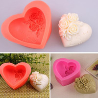 Moules 3d De Sugarcraft Pas Cher-Vente en gros - 3D Love Heart Rose Flower Décor de gâteau de moule en silicone Sugarcraft Cupcake Mold Cookies Making Molds