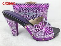 Wholesale Purple Polka Dot Shoes - 2017 New Italian Design Woman Fashion Party Shoes And Bag To Match Beautiful High Heel Shoes And Bag Set For Party