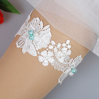 Wholesale Cheap Embroidered Stockings - 2017 Real Image Blue Pearl Lace Wedding Garter for Bride Wedding Garters Free Shipping White Ivory Cheap Bridal Leg Garters In Stock
