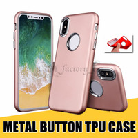 Wholesale Note Housing Case - For iPhone X TPU Cases with Metal Button Ultra Thin Fitted Protector Housing for Samsung Note 8 S8 Plus LG G6 MOTO G5