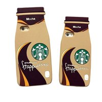Wholesale Iphone Cases Coffee - 3D Cartoon Starbuck Mocha Milky Tea Bottle Silicone Cover For iPhone 7 Plus 6S Plus 5S SE Coffee Bottle Phone Case