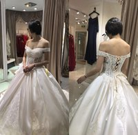 Wholesale Make Up Glue - Sexy 2018 Bling Ball Gown Wedding Dresses with Off Shoulder Neckline Chapel Train Glitter Glued Lace Lace-up Real Image Bridal Gowns