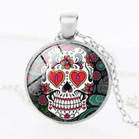 Wholesale Fashion Sugar - Wholesale Fashion Glass Dome Jewelry - Skull Necklace Sugar Skull Necklace Pendants Women Men glass statement necklace