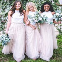 Wholesale hot pink royal purple wedding dresses resale online - Hot Summer Garden Lace Tulle Bridesmaid Dresses Cheap A Line Two Pieces Halter Neck Long Maid of Honor Wedding Guest Dresses