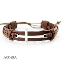 Wholesale Sideways Charms For Bracelets - Sideways Cross Adjustable Leather Cuff Bracelets Gifts for Men & Women Friendship Bangle Punk Casual Wristband Jewelry