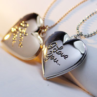 Wholesale Heart Locket Photo Frame Necklace - Wholesale- High Quality Valentine Lover Gift Word I Love You Designs Photo Frames Can Open Locket Pendant Charm Necklaces Heart Pendants