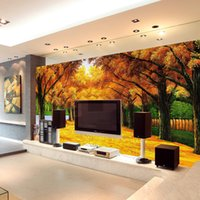 Wholesale Golden Forest - custom wall mural Modern art painting high quality mural golden yellow forest 3d living room TV backdrop oil painting mural wallpapers
