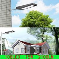 Wholesale Led Wall Light 15w - 108LEDs 15W 2100LM Solar Power Radar Motion Sensor Wall Light Outdoor Waterproof Energy Saving Street Yard Path Home Garden Security Lamp