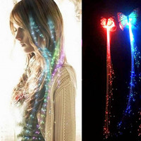 Wholesale Wigs For Carnival - Colorful Flash LED Light Up Butterfly Wigs Hair Braid Shine Decoration Flash Glow LED Gadgets Hair Masquerade for Party Carnival Hot Sale