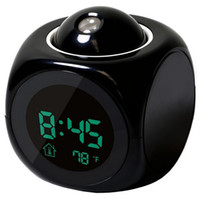 Wholesale Projection Lcd - Multi-function Digital LCD Voice Talking LED Projection Alarm Clock Black and White