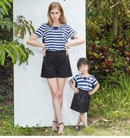 Wholesale Sailor Clothing Set - Mother and Daughter Clothes Summer 2 Pieces Sets Tshirt Sailor Collar and Shorts Dresses Mother Daughter Matching Clothing